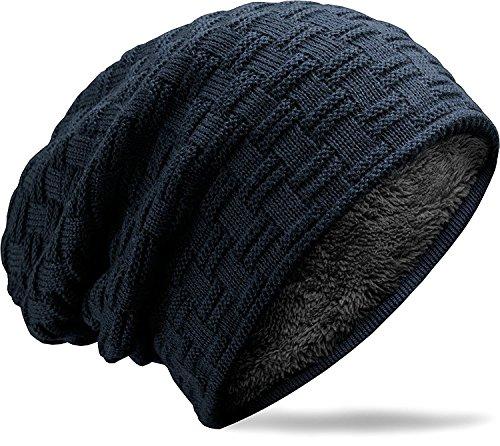 MUCO Chapeau Beanie Cap Bonnet Chapeaux tricotés Hommes/Femmes Hiver Polaire Doublure Unisexe Ski Plein air,Taille unique,Bleu