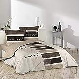 Douceur d'Intérieur, parure de lit avec 2 taies d'oreiller, Coton, Imprimé, 240 x 260 cm