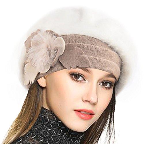 VECRY Femme Laine Béret Français Cloche Angola Robe Bonnet Calotte Chapeaux d'hiver (Crème) prix et achat