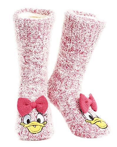 Disney Chaussettes Épaisses Femmes Super Douce Doublée Fourrure Sherpa Chaussettes Antidérapantes Mickey Minnie Stitch Chaussette de Lit Fantaisie Cadeau Femme Fille (Daisy),Rose,Taille unique prix et achat