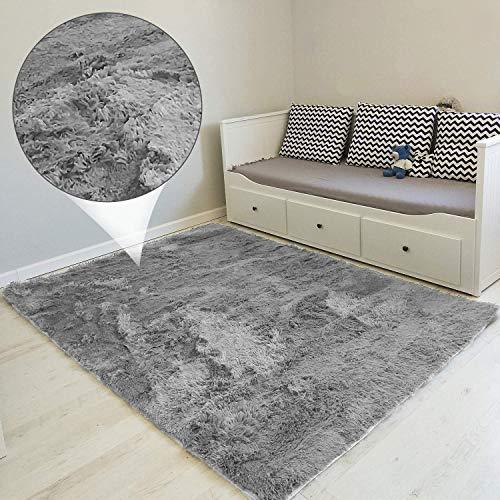Tapis Salon Shaggy - Descente de lit Chambre Grande Taille Tapis Poils Longs Moderne tapid Moquette Poil Long tapi (Gris, 160 x 230 cm)