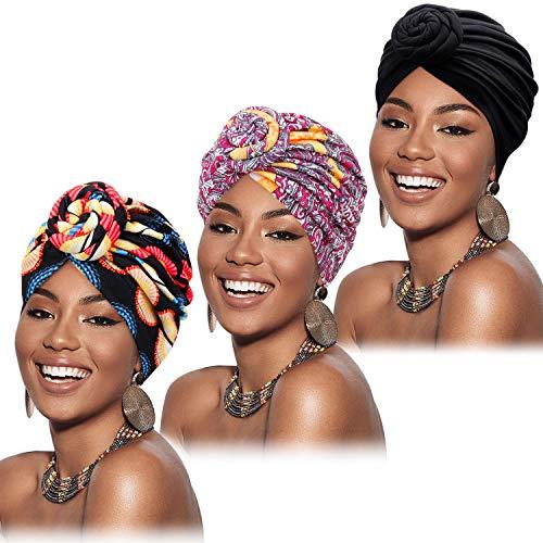 Mudder Lot de 3 turban africains pré-noués pour femme Taille Unique Multicolore prix et achat