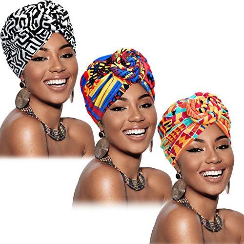 3 Pièces Turban Africain pour Femmes Bonnet Noué Pré-Noué Headwrap Bonnet (Géométrie Noir Orange Rose)