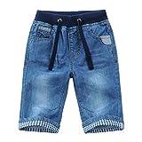 YoungSoul Short Bermuda garçon - Short en Jean à Revers - Pantacourt en Jean Enfant Taille élastiquée Bleu 164/13-14 Ans