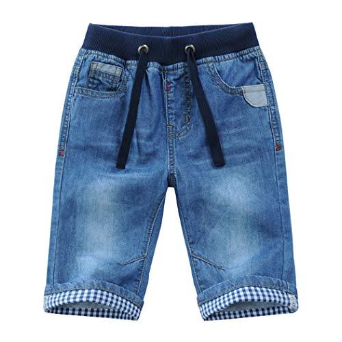 YoungSoul Short Bermuda garçon - Short en Jean à Revers - Pantacourt en Jean Enfant Taille élastiquée Bleu 116/5-6 Ans