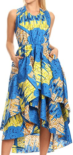 Sakkas WD1624 - Ada Ankara Wax Robe sans Manches Africaine hollandais Cascading Hi Couches Basses - 1145 Turq/Citron-déco - OS