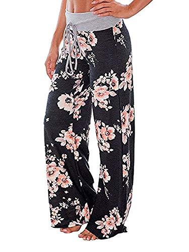 Walant Pantalon de Yoga Femme Été Chic Jambe Large Pantalon Décontracté Taille Haute...