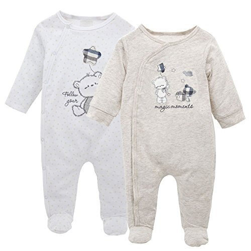 Minizone Lot de 2 Nouveau née Combinaison Ensemble, Grenouillères Barboteuses Jumpsuit Body Pyjama Tenues 0-3 Mois