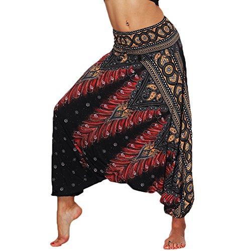 Nuofengkudu Femme Sarouel Pantalons Bouffants Ethnique Hippie Larges Léger Taille Haute Vacances Été Plage,Taille unique,Noir Paon