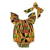 Tonsee Enfant en Bas âge bébé Filles Impression Africaine épaule Barboteuse Bande de Cheveux Bodys vêtements Brillant Africain Couleur Enfant Dashiki Robe
