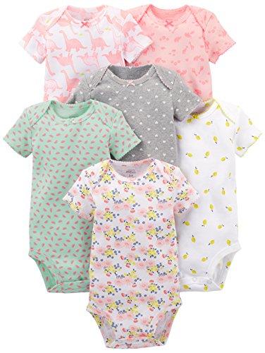 Simple Joys by Carter's Baby Fille Lot de 6 bodies à manches courtes ,Pink Dino, Floral, Mint,...