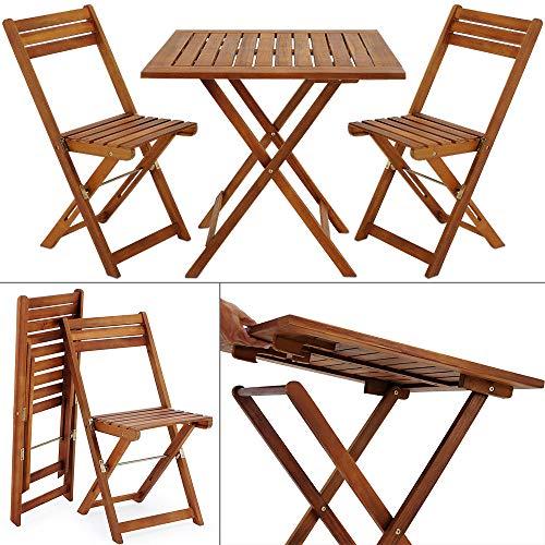 Deuba - Ensemble de Jardin en Bois d'acacia • 1 Table et 2 chaises Pliables - Salon de Jardin, Balcon, terrasse, Ensemble Table et chaises