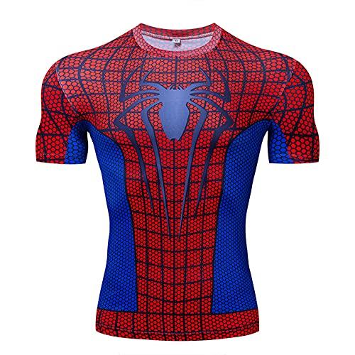 MYYLY T-Shirt Compression Hommes Manches Courtes Spiderman Sports Vêtements Séchage Rapide Jogging Fitness Chemise Manches Courtes T-Shirts pour Adultes Super-héros,Red-3XL (170~190CM) prix et achat