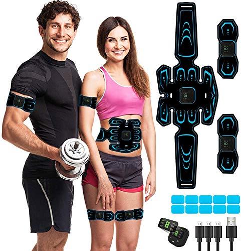 MATEHOM Electrostimulateur Musculaire,Ceinture Abdominale Electrostimulation, 6 Modes 10 Niveaux pour Stimulateur Musculaire Femme Homme Entraînement Abdominal Rechargeable
