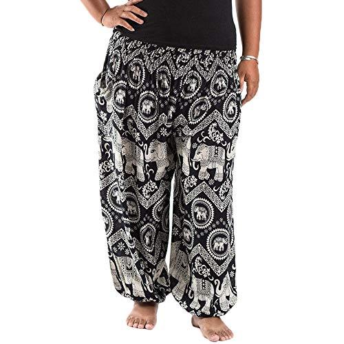 Nuofengkudu Homme Femme Sarouel Pantalon Long Harem Hippie Grande Taille Boheme Imprimé Baggy...
