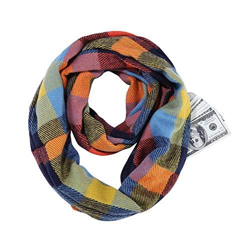 LASISZ Écharpe écossaise Infinity Wrap cachée avec Poche zippée pour Femme au Chaud avec...