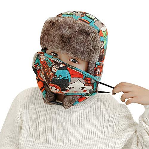 ITODA Unisexe Chapka Enfant Chapeau de Ski Bonnet de Russe Hiver en Coton Motif de Cartoon Chapeau Trappeur Extérieur Sports Cache Oreille Anti-Vent/Froid pour Les Filles et Garçons 5-15ans