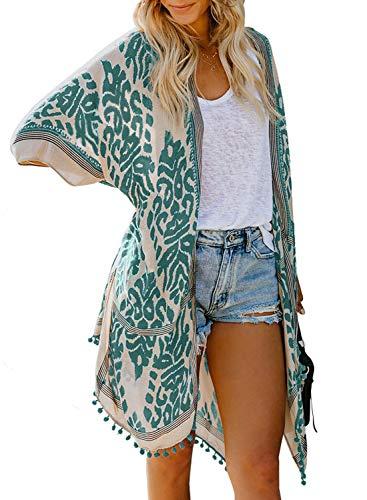 Aleumdr Gilet Femme Cache-Maillots de Bain Femme Kimono avec Franges Imprimé Cover Up Sarong Large Couverture Maillot Taille Unique