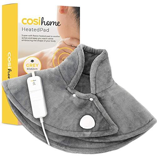 Cosi Home Coussin Chauffant Epaules et Dos Tour de Cou, Chauffe-épaules Électrique, 3 niveaux de chaleur réglables et télécommande, Soulagement des douleurs musculaires - Gris prix et achat