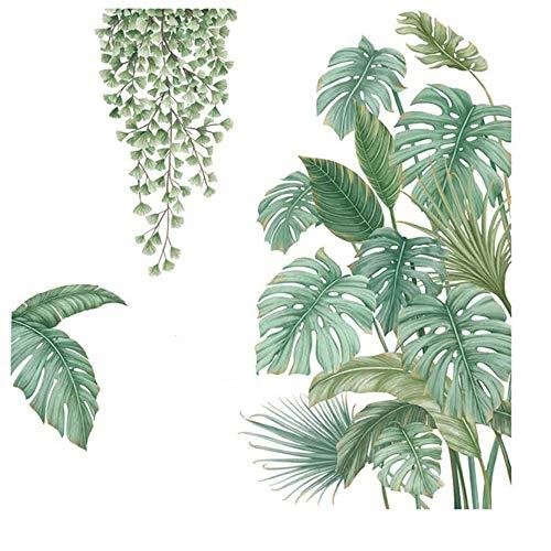 4 Pièces Autocollant Mural Plante Verte, Sticker Mural Plante...
