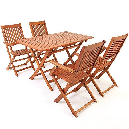Deuba | Ensemble de Jardin 4+1 • en Bois d'acacia certifié FSC® • Sydney • 1 Table et 4 chaises Pliables | Salon de Jardin