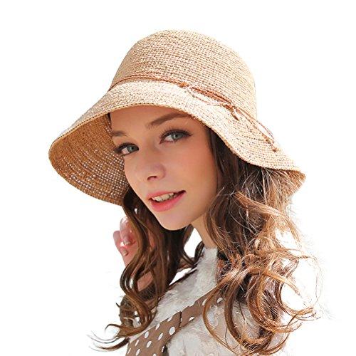 RIONA Chapeau Paille Femme Été Anti UV Plage Casquette Soleil Bucket Hat Pliable pour Voyage, Peche, Randonnée prix et achat