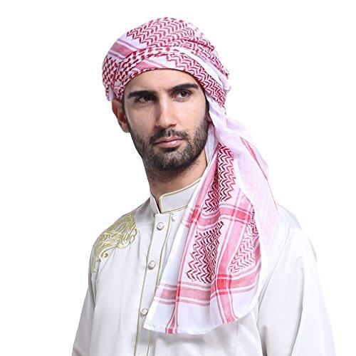 GladThink Hommes musulman Écharpe Shawl Turban 140cm rouge