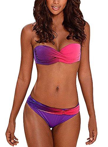 Aleumdr Maillot de Bain 2 Pièces Femme Sexy Push Up Bandeau Bikini Torsadé Amincissant...