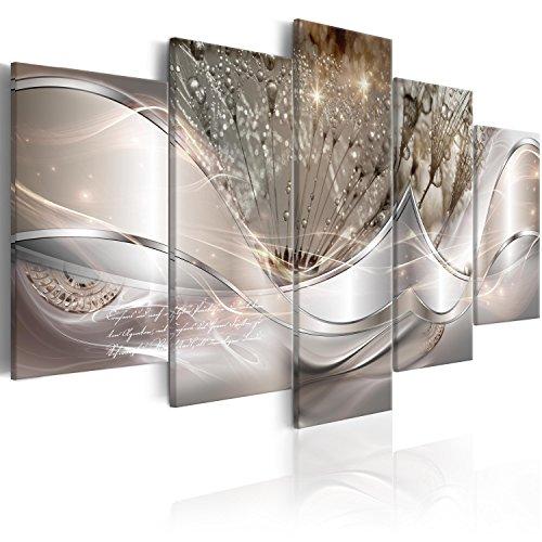 murando Impression sur Toile intissee Abstrait Fleurs 200x100 cm 5 Parties Tableau Tableaux Decoration Murale Photo Image Artistique Photographie Graphique Pissenlit a-C-0087-b-n
