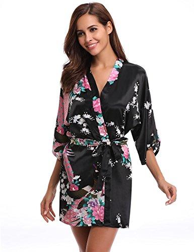 Aibrou Kimono Robe de Chambre Chemise de Nuit Femme Fleurs Paon sous vetements, Noir, L: epaule...