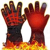 eventek Gants Chauffants d'hiver, Gants électriques Rechargeables de Grande Capacité 4000 mAh, Jusqu'à 8 Heures de Temps de Chauffage, Gants Thermiques à 3 Réglages de Chaleur (Noir, XL)