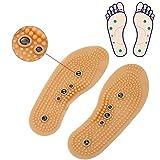 2 Paires Semelles de Magnétique Thérapie Respirantes Massage Semelles Intérieure pour Stimuler les Points de Pression Acupressure et le Réflexe Augmenter la Circulation Sanguine (41-45)