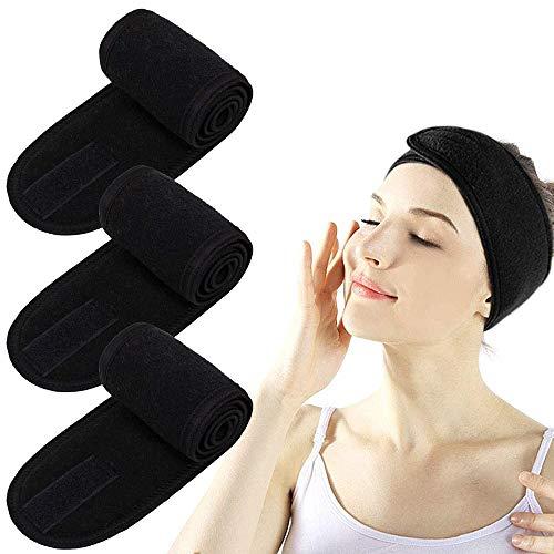 Ealicere 4 PCS bandes de maquillage noirs bandeau cheveux femme Spa Cheveux Maquillage Bandeau...