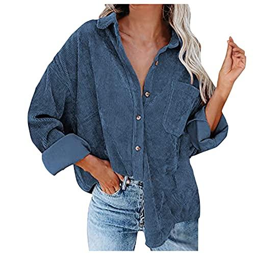 Zldhxyf Chemise en velours côtelé pour femme - Veste de loisirs - Printemps, automne - Tops décontractés à manches longues, bleu, XXL