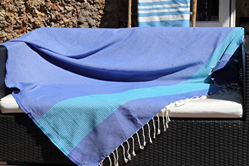 Fouta géante XXL très Grande Taille Soleil des Cyclades – 150 x 250cm – Bleu Grec et Vert Turquoise – Drap de Plage XXL – 100% Coton et Douceur prix et achat