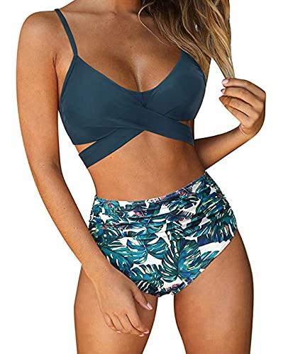 ABINGOO Femme Bikinis Sets Maillot De Bain Vintage Floral Taille Haute Col V Mignon Bikini Maillots Deux Pièces Swimsuit