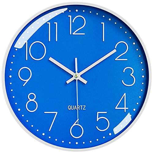 LiRiQi Horloge Murale Silencieuse sans tic-tac, 30cm Chiffres Arabes Horloge Quartz Ronde Moderne Décorative, pour Salon Chambre Cuisine Bureau Classe - Bleu