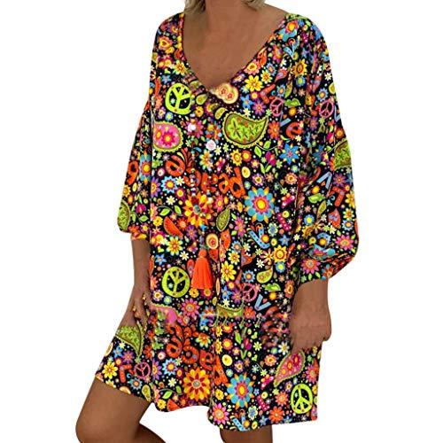 HULKY Femme Robe Été Femme De Plage Rétro Robes Lin Robes Au Genou Robe Manches Longues Floral Imprimé Casual Tuniques Robe Grande Taille De Soirée Cocktail Bohême Robe prix et achat