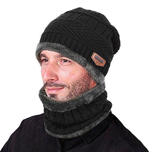 Goodbuy Chauffant Bonnet Tricot avec Écharpe de Doublure Polaire, Hiver Chapeau Beanie pour Homme, Noir, Taille unique