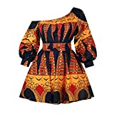 Robe africaine à manches longues - Épaules dénudées - Style rétro - Rockabilly - Pour femme - Imprimé floral - Jaune - XL