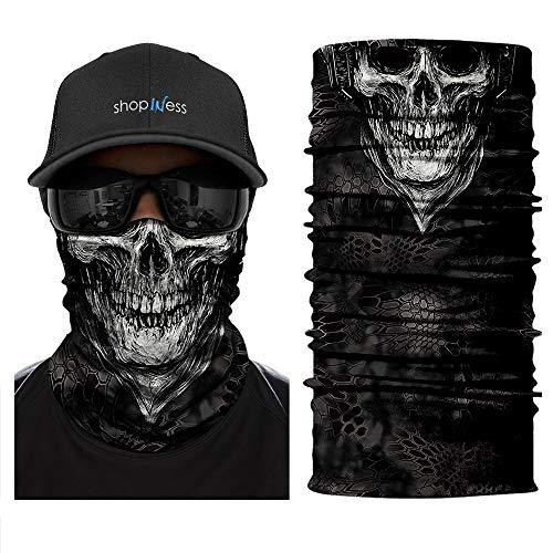 ShopINess Cache-Cou/Bandana Multifonctions - Crâne/tête de Mort (crâne Blanc)
