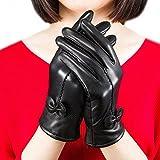 Gants de luxe Fletion - En cuir d'agneau - Avec doublure en polaire - Pour femme - Noir - taille unique
