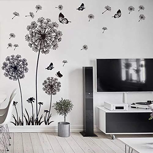 WandSticker4U®- XL Stickers muraux FLEURS DE PISSENLIT noir (165x130 cm) I papillon plantes branche arbre I autocollant sticker mural pour salon chambre cuisine bureau adulte enfant