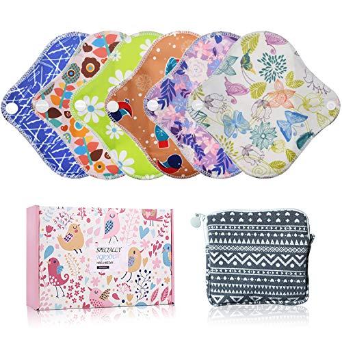 YueTech Lot de 6 serviettes hygiéniques XS (16,5cm) en tissu de bambou, réutilisables et...