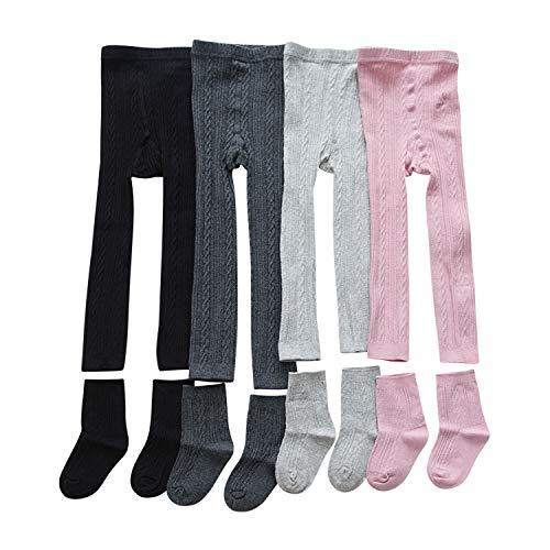 De feuilles Lot de 3 Legging Pantalon Bébé Enfant Fille en Coton Chaussettes Collants Motif...