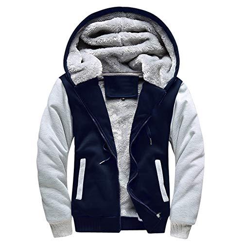 LBL Homme Hiver Chaud Sweats à Capuche Zippé Épaisse Veste de Manches Longues Manteau Bleu M