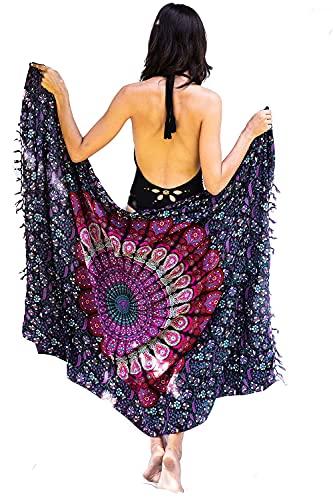 Paréo Bohème de Plage Femme - Boho Bikini Couvrir - Châle - Écharpe - Emballage - Couverture - Tapisserie - 100% Tissu Batik Rayon Sarong - 180x120 cm prix et achat