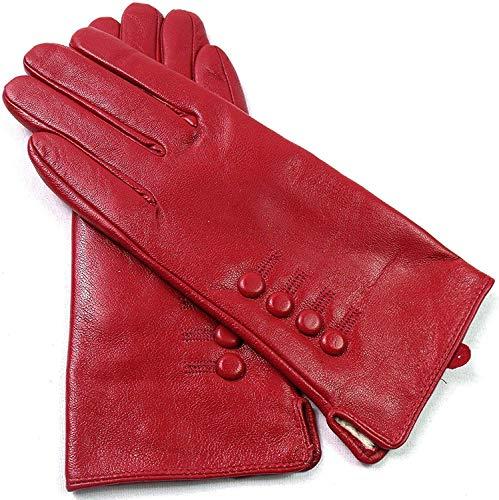 Gants en cuir véritable entièrement doublés pour femme - Rouge - Large