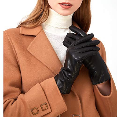 ZLUXURQ Gants en cuir de laine pour femmes, élégants et légers, adaptés à un usage...