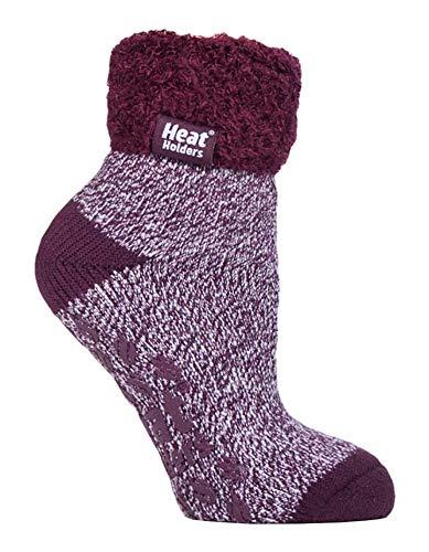 HEAT HOLDERS - 1 paire chaussettes antidérapantes de lit femme duveteux hiver en 8 couleurs...